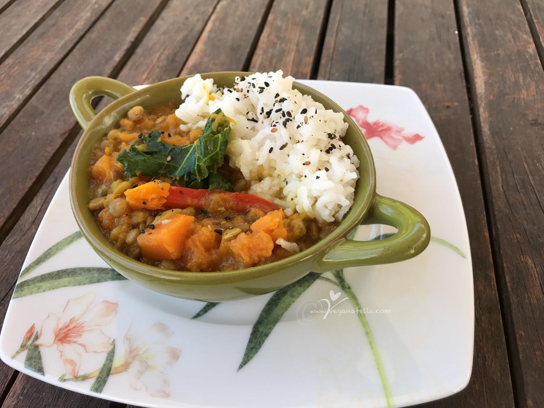 Dal de lentejas con mango y calabaza vegana feliz for Cocinar kale sarten